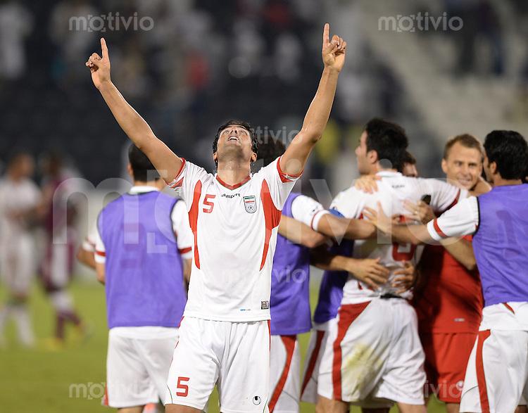 Fussball International  WM Qualifikation 2014   Katar - Iran      04.06.2013 SCHLUSSJUBEL Iran; Amirhossein SADEGHI