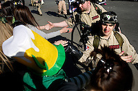 Members of Ghostbusters United interact with the crowd at the St. Patrick's Day Parade in South Boston, Massachusetts.