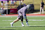Jamie Piluso (25) of the High Point Panthers scoops up the ball after winning a face-off against the UMBC Retrievers at Vert Track, Soccer & Lacrosse Stadium on March 15, 2014 in High Point, North Carolina.  The Panthers defeated the Retrievers 17-15.   (Brian Westerholt/Sports On Film)