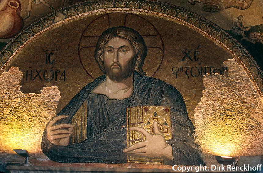 Türkei, Pantokrator-Mosaik in der  byzantinischen Chora-Kirche (Kariye Müzesi) in Istanbul