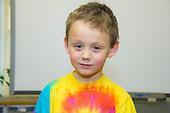 MR / Schenectady, NY. Zoller Elementary School (urban public school). Kindergarten inclusion classroom. Portrait of student (boy, 5). MR: Bur12. ID: AM-gKw. © Ellen B. Senisi