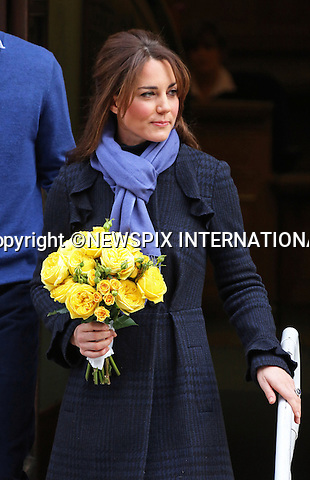 """06.12.2012, London: CATHERINE, DUCHESS OF CAMBRIDGE LEAVES HOSPITAL.Kate loking a bit frail left the King Edward VII's Hospital, London this morning with Prince William at her side..The Duchess of Cambridge who was confirmed to be pregnant by Buckingham Palace earlier in the week had been hospitalised suffering from acute morning sickness..Mandatory credit photo:©Butler/NEWSPIX INTERNATIONAL..(Failure to credit will incur a surcharge of 100% of reproduction fees)..**ALL FEES PAYABLE TO: """"NEWSPIX  INTERNATIONAL""""**..Newspix International, 31 Chinnery Hill, Bishop's Stortford, ENGLAND CM23 3PS.Tel:+441279 324672.Fax: +441279656877.Mobile:  07775681153.e-mail: info@newspixinternational.co.uk"""