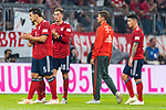 06.10.2018, Allianz Arena, Muenchen, GER, 1.FBL,  FC Bayern Muenchen vs. Borussia Moenchengladbach, DFL regulations prohibit any use of photographs as image sequences and/or quasi-video, im Bild enttaeuscht Mats Hummels (FCB #5) Leon Goretzka (FCB #18) Thomas M&uuml;ller (FCB #25) James Rodriguez (FCB #11) <br /> <br />  Foto &copy; nordphoto / Straubmeier