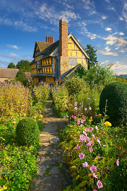 The half timbered gate house and garden of the  finest fortified medieval manor house in England built in the 1280s, Stokesay Castle, Shropshire, England