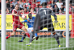 Aberdeen v St Johnstone...31.08.13      SPFL<br /> Nigel Hasselbainks effort goes past the post<br /> Picture by Graeme Hart.<br /> Copyright Perthshire Picture Agency<br /> Tel: 01738 623350  Mobile: 07990 594431
