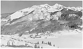 Winter view of Trout Lake with RGS freight heading north to Matterhorn.<br /> RGS  Trout Lake, CO  Taken by Richardson, Robert W. - 11/17/1951