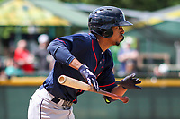 Cedar Rapids Kernels shortstop Wander Javier (15) runs to first base during a Midwest League game against the Beloit Snappers on June 2, 2019 at Pohlman Field in Beloit, Wisconsin. Beloit defeated Cedar Rapids 6-1. (Brad Krause/Four Seam Images)