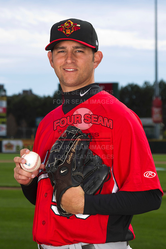 Rochester Red Wings pitcher Carlos Gutierrez #53 poses for a photo during media day at Frontier Field on April 3, 2012 in Rochester, New York.  (Mike Janes/Four Seam Images)