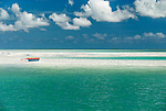 A canoe on a sandbank in the lagoon on the island of Kiritimati in Kiribati