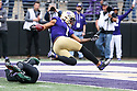 SEATTLE, WA - SEPTEMBER 14: Washington's (1) Hunter Bryant (TE) goes air born into the end zone against Hawaii during the college football game between the Washington Huskies and the Hawaii Rainbow Warriors on September 14, 2019 at Husky Stadium in Seattle, WA. Jesse Beals / www.Olympicphotogroup.com