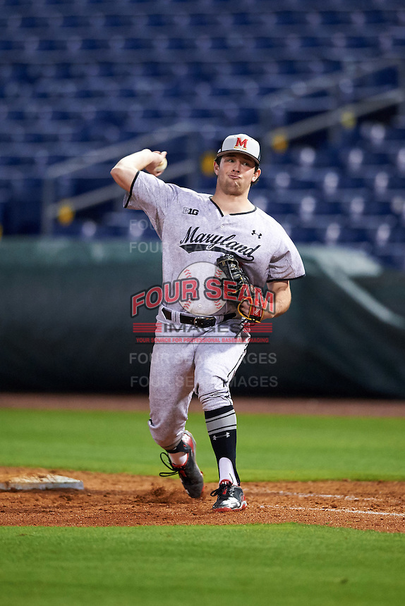 Maryland Terrapins first baseman Kevin Biondic (41) during practice before a game against the Louisville Cardinals on February 18, 2017 at Spectrum Field in Clearwater, Florida.  Louisville defeated Maryland 10-7.  (Mike Janes/Four Seam Images)