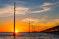US, Florida Keys. Sunset at Seven Mile Bridge. Knight's Key, Marathon.