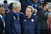 31st October 2017, Cardiff City Stadium, Cardiff, Wales; EFL Championship football, Cardiff City versus Ipswich Town; Mick McCarthy, Manager of Ipswich Town and Neil Warnock, Manager of Cardiff City talk before game