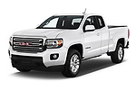 2019 GMC Canyon 4WD SLE Extended Cab 5 Door Pick Up angular front stock photos of front three quarter view