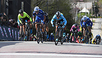 NWA Democrat-Gazette/J.T. WAMPLER The leaders make the final push for the finish line during the criterium portion of the Joe Martin Stage Race in downtown Fayetteville 41st annual Sunday April 15, 2018. Jose Alfredo Rodriguez (third from left) won the event for team Elevate KHS.