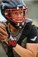 Hutt Valley catcher Cindy Potae during round two of the National Women's Softball Championships at Hataitai Park, Wellington, NewZealand on Sunday 2 February 2009. Photo: Dave Lintott / lintottphoto.co.nz