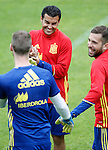 Spain's David De Gea (l), Pedro Rodriguez (c) and Jordi Alba during preparing training stage to Euro 2016. May 30,2016.(ALTERPHOTOS/Acero)