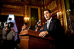 Wisconsin Governor Scott Walker speaks at a press conference at the State Capitol in Madison, Wisconsin, February 23, 2011.