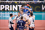 24.02.2019, SAP Arena, Mannheim<br /> Volleyball, DVV-Pokal Finale, VfB Friedrichshafen vs. SVG LŸneburg / Lueneburg<br /> <br /> Tyler Koslowsky (#1 Lueneburg), Raymond Szeto (#11 Lueneburg), Cody Kessel (#5 Lueneburg), Noah Baxpšhler / Baxpoehler (#4 Lueneburg), Adam Schriemer (#3 Lueneburg), Ryan Sclater (#15 Lueneburg) enttŠuscht / enttaeuscht / traurig <br /> <br />   Foto © nordphoto / Kurth