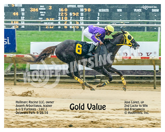 Gold Value winning at Delaware Park on 9/28/16