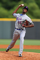 Kingsport Mets starting pitcher Martires Arias #35 delivers a pitch during a game against the Greenville Astros at Pioneer Park on August 4, 2013 in Greenville, Tennessee. The Astros won the game 17-1. (Tony Farlow/Four Seam Images)