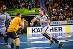Lucas Witzke (SC DHfK Leipzig #7) ; Adam Loenn (TVB Stuttgart #11)  beim Spiel in der Handball Bundesliga, TVB 1898 Stuttgart - SC DHfK Leipzig.<br /> <br /> Foto © PIX-Sportfotos *** Foto ist honorarpflichtig! *** Auf Anfrage in hoeherer Qualitaet/Aufloesung. Belegexemplar erbeten. Veroeffentlichung ausschliesslich fuer journalistisch-publizistische Zwecke. For editorial use only.