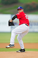 Kannapolis Intimidators starting pitcher Mike Recchia (25) in action against the Greensboro Grasshoppers at CMC-Northeast Stadium on July 13, 2013 in Kannapolis, North Carolina.  The Intimidators wore throwback jerseys of the Piedmont Boll Weevils, who played in Kannapolis from 1996-2000.   (Brian Westerholt/Four Seam Images)