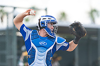 Team Italy catcher Alessandro Deotto (13) throws to second base during an exhibition game against the Oakland Athletics at Lew Wolff Training Complex on October 3, 2018 in Mesa, Arizona. (Zachary Lucy/Four Seam Images)