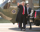 United States President Donald J. Trump arrives at Walter Reed National Military Medical Center in Bethesda, Maryland to spend time with wounded members of the military on December 21, 2017. <br /> Credit: Chris Kleponis / Pool via CNP