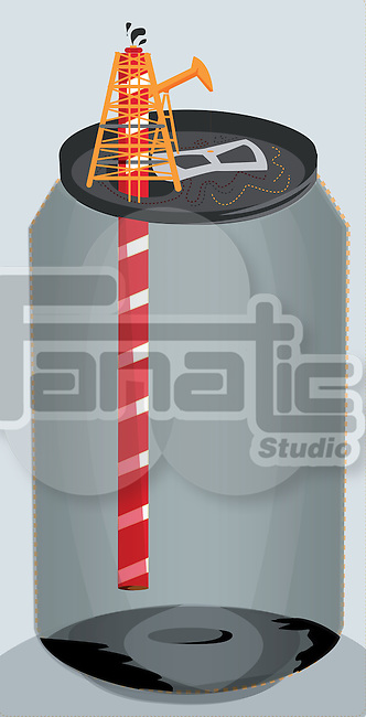 Conceptual shot of empty can with straw depicting extinction of oil