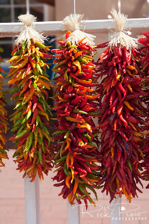 Chili peppers hanging to dry in Santa Fe, New Mexico