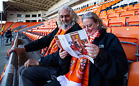 A couple of Blackpool fans leaf through the programme before the match<br /> <br /> Photographer Alex Dodd/CameraSport<br /> <br /> The EFL Sky Bet League One - Blackpool v MK Dons  - Saturday September 14th 2019 - Bloomfield Road - Blackpool<br /> <br /> World Copyright © 2019 CameraSport. All rights reserved. 43 Linden Ave. Countesthorpe. Leicester. England. LE8 5PG - Tel: +44 (0) 116 277 4147 - admin@camerasport.com - www.camerasport.com