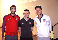Oceanside, CA-Wednesday, June 19, 2019: US Soccer Coaches Ed Event at QLN conference center.  From left are Matt Reiswerg, Alex Bernardo, and Jared Micklos.