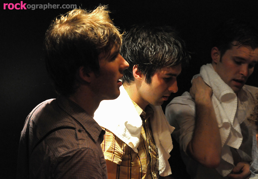 Jesse and Jordan Laz with Kai Kennedy of Brooklyn Garage Pop rockers Locksley backstage after performance at the Fillmore Theatre , Irving Plaza NYC ( June 15, 2008)