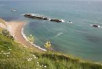A line of limestone stumps cross Man o' War bay on the Jurassic coast near Lulworth Cove, Dorset, England