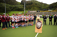 The formalities take place after the 2017 National Hockey League Men's final between Auckland and North Harbour at National Hockey Stadium in Wellington, New Zealand on Sunday, 24 September 2017. Photo: Dave Lintott / lintottphoto.co.nz