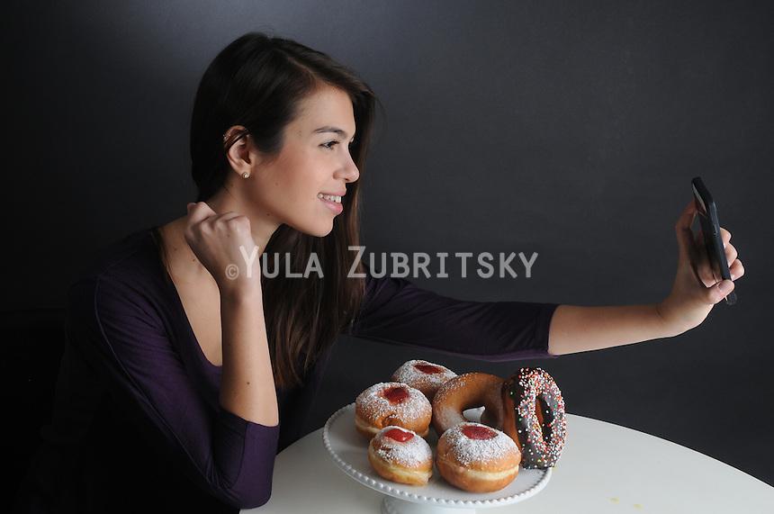 Hanukkah - donuts Hanukkah selfie with donuts