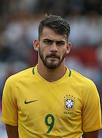 Felipe Vizeu of Brazil during the International match between England U20 and Brazil U20 at the Aggborough Stadium, Kidderminster, England on 4 September 2016. Photo by Andy Rowland / PRiME Media Images.