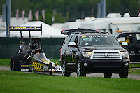 31 August - 3 September, 2012, Indianapolis, Indiana USA, Morgan Lucas, Geico Powersports, Lucas Oil, top fuel dragster, Toyota Sequoia, tow vehicle @2012, Mark J. Rebilas