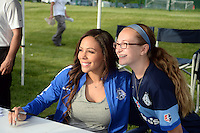 Kansas City, MO - Saturday May 07, 2016: FC Kansas City  forward Sydney Leroux poses for a photo before the game against the Houston Dash. The Houston Dash defeated FC Kansas City 2-1 during a regular season National Women's Soccer League (NWSL) match at Swope Soccer Village.