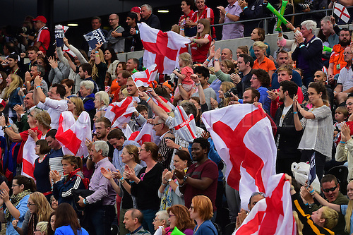 30.08.2015. Lea Valley, London, England. Unibet EuroHockey Championships Day 10. Gold Medal Final. England versus Netherlands. England fans celebrate their teams equalising goal