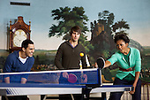 First Lady Michelle Obama plays table tennis with members of the band Big Time Rush in the Diplomatic Reception Room of the White House during a taping for NIckelodeon's Worldwide Day of Play, Saturday, September 24, 2011. .Mandatory Credit: Chuck Kennedy - White House via CNP
