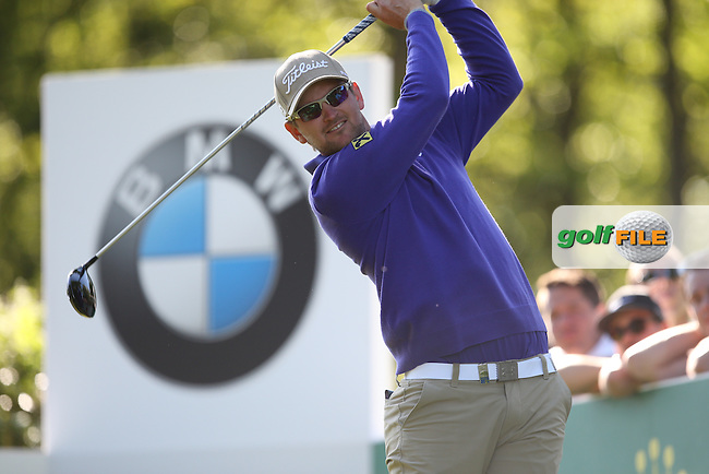 Bernd Wiesberger (AUT) drives the 17th during Round One of the 2015 BMW PGA Championship over the West Course at Wentworth, Virginia Water, London. 21/05/2015Picture David Lloyd, www.golffile.ie.