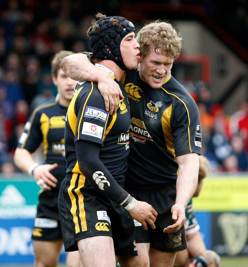 Photo: Richard Lane/Richard Lane Photography..Leicester Tigers v London Wasps. Guinness Premiership. 29/03/2008. Wasps' Danny Cipriani celebrates his try with Tom Rees.