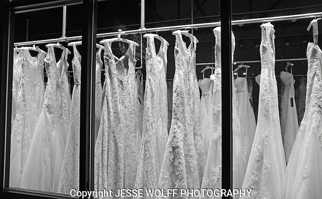 wedding dresses in window on broadway avenue in denver colorado.