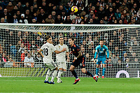 Real Madrid's Marcos Llorente and Valencia CF's Michy Batshuayi fight for the ball during La Liga match between Real Madrid and Valencia CF at Santiago Bernabeu Stadium in Madrid, Spain. December 01, 2018. (ALTERPHOTOS/A. Perez Meca) /NortePhoto NORTEPHOTOMEXICO