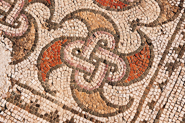 4th cent. AD geometric floor mosaics of the late Roman period Jewish synagogue of Sardis.  Sardis archaeological site, Hermus valley, Turkey. Discovered in 1962 as part of an on going  Harvard Art Museum excavation project.