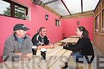 Riadas Bar Ballymacelligott Feature Kelly Leen, Ciaran Ahern and Dorothy Murphy in the smoking area of ORiadas Bar.