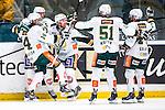 Stockholm 2014-01-18 Ishockey SHL AIK - F&auml;rjestads BK :  <br /> F&auml;rjestads Martin R&ouml;ymark har gjort 3-2 och jublar med lagkamrater F&auml;rjestads Oliver Kylington , F&auml;rjestads Rickard Wallin och F&auml;rjestads Milan Gulas <br /> (Foto: Kenta J&ouml;nsson) Nyckelord:  jubel gl&auml;dje lycka glad happy
