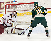 Joe Woll (BC - 31), Derek Lodermeier (UVM - 16) - The Boston College Eagles defeated the University of Vermont Catamounts 7-4 on Saturday, March 11, 2017, at Kelley Rink to sweep their Hockey East quarterfinal series.The Boston College Eagles defeated the University of Vermont Catamounts 7-4 on Saturday, March 11, 2017, at Kelley Rink to sweep their Hockey East quarterfinal series.